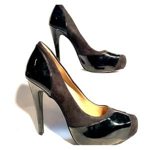 BLACK SUEDE AND PATENT HIGH HEEL BY BCBGENERATION